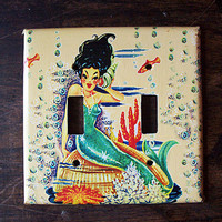 mermaid double switch plate retro vintage nautical 1950's pin up girl rockabilly light switch