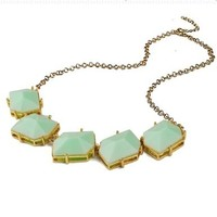 Light Green Bib Necklace, Bubble Jewelry, Statement Jewelry, Chunky Necklace(Fn0569)