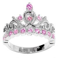 JewelsObsession's 14K Gold Princess Crown CZ Pink Tourmaline Ring (October Birthstone)