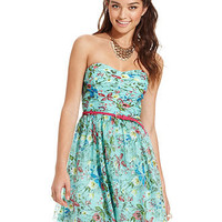 Trixxi Juniors Dress, Strapless Floral-Print A-Line - Juniors Dresses - Macy's
