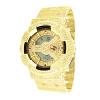 Mens G-Shock Watch Gold Finish Digital Analog Iced Out