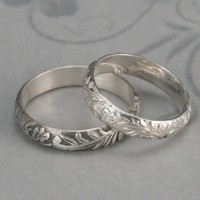 Neoclassical Floral Ring--Sterling Silver Floral Patterned Wedding Band