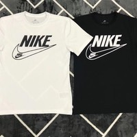 """Nike"" Unisex Vintage Casual Big Hook Logo Letter Print Couple Short Sleeve T-shirt Top Tee"