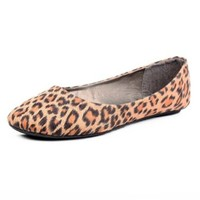 West Blvd Womens BALLET Flats Slip On Shoes Ballerina Slippers, Leopard Suede, US 6.5