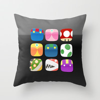 home screen.. mario apps Throw Pillow by studiomarshallarts