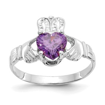 14k White Gold February Amethyst Heart Claddagh Ring