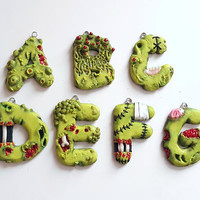 Necklace pendant 3D zombie letters alphabet spooky charm fashion polymer clay geekery hand made gift funny humor for kids her birthday