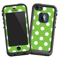 """White Polka Dot on Lime """"Protective Decal Skin"""" for LifeProof fre iPhone 5/5s Case"""