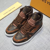 LV Louis Vuitton Men's Leather Trainer High Top Sneakers Shoes