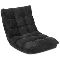 Giantex Floor Folding Gaming Sofa Chair Lounger Folding Adjustable 14-Position Sleeper Bed Couch Recliner (Black) Black