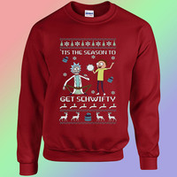 Sweatshirts Rick & Morty Get Schwifty custom Crewneck Sweatshirts Womens and Mens
