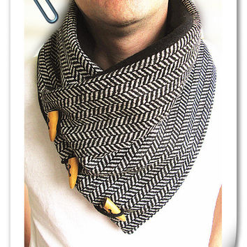 Men's cowl collar scarf- black and white herringbone wool-Men's scarf-fleece lined.