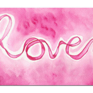 """Romantic Pink 8 x 10 Watercolor Art Print Titled """" LOVE """" by SamIamart"""