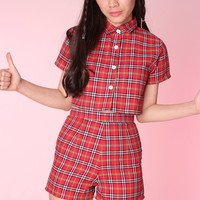 Glitters For Dinner — Made To Order - Katie Red Tartan Top & Shorts Set