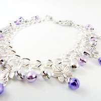 Purple Butterfly Silver Jingle Anklet Made to Order by angelyques