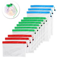 12pcs Reusable Mesh Washable Eco Friendly Bags