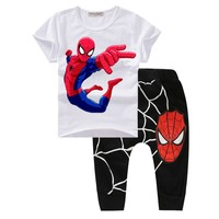 Boys Clothes Summer 2017 New Spiderman Toddler boys Clothing Set Cute Cartoon Print Organic Cotton Baby Boys Suits Fashion T21
