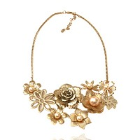 Gold Flower Cluster Chain Necklace
