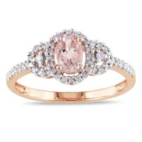 Oval Morganite and 1/6 CT. T.W. Diamond Buckle Ring in 10K Rose Gold - View All Rings - Zales