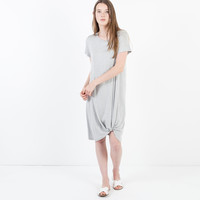 Rayner Knotted T-Shirt Dress (Grey)