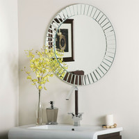 27.6-Inch Modern Beveled Frameless Bathroom Vanity Wall Mirror