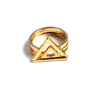"""""""Three The Hard Way"""" Set Of 3 Gold Triangle Ring"""