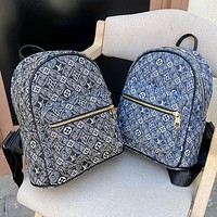LV Louis vuitton solid color embossed letters ladies canvas embroidered letters backpack school bag Daypack