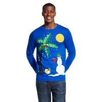 Men's Ugly Christmas Crew Sweater Snowman Blue -... : Target
