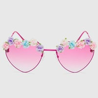 Heart Floral Sunglasses - Pink - One Size / Pink