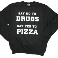 21 Century Clothing Unisex-Adult Pizza not Drugs Sweater Medium Black
