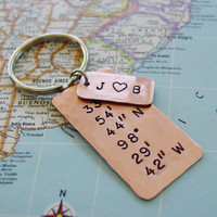 Latitude Longitude Keychain, Copper Gift, Hand Stamped, GPS Coordinates, Personalized, Couples Initials, 7 Year Anniversary, Mens Gift