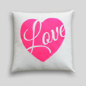 NEON Heart Cushion Cover, Choose your colour Hand painted, Pillow. Pink Yellow Heart LOVE Bedroom Decor, Neon Fashion Decor, Christmas Gift