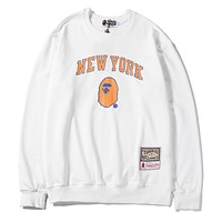 BAPE x NBA Tide brand new round neck long sleeve sweater White