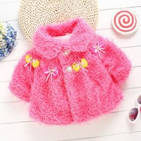 Winter Autumn Flower Wool Baby Outerwear Clothes Baby Girls Jacket Coat