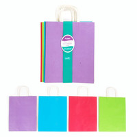 10 1/2W x 13H x 5 1/2G Large Bundled Rainbow White Kraft bag w/White Color Handle in 4 Colors/Case of 60