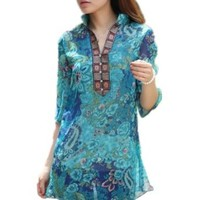 Womens Vintage Colourful Floral Print Casual Slim Shirt Blouse Top
