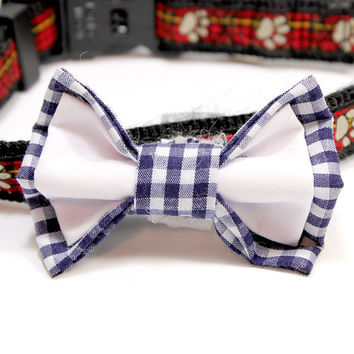 Medium Size Blue Check Gingham and White Cotton Dog Bowtie. Great for Special Occasions - Wedding, Graduation, Photo Props.  Dark Blue