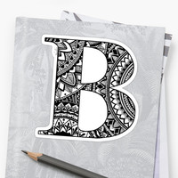 'Mandala Letter B' Sticker by Shaseldine