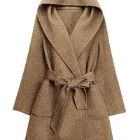 Brown Elegant Hooded Long Sleeves Coat