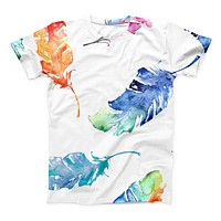 The Colorful Watercolor Feathers ink-Fuzed Unisex All Over Full-Printed Fitted Tee Shirt