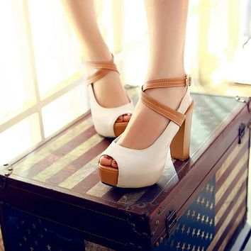 Women Cross Strap Platform Sandals High Heels Dress Shoes 5348