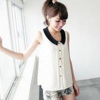 YESSTYLE: BAIMM- Sleeveless Contrast-Collar Pintuck Blouse (Ivory - One Size) - Free International Shipping on orders over $150