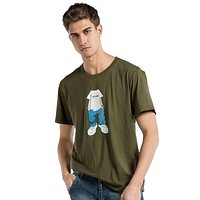 Fashion Men Short Sleeve Cotton Print Shirt Top Tee