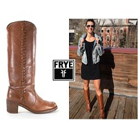 FRYE Boots Size 9 Campus Braided 1970s Tall Tawny Brown Western Cowboy Boots