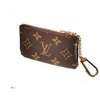 Louis Vuitton LV Tide brand classic old flower female zipper coin purse key case Coffee print