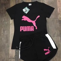 puma women print short sleeve top shorts set two piece sportswear  number 2