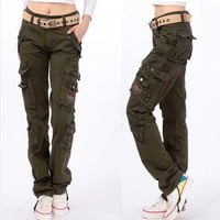 Fashion Full Pants 2017 Women Casual Loose jogger cargo pants Woman army Green Overalls trousers plus size 28-38