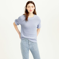 SHORT-SLEEVE OPEN-STITCH SWEATER