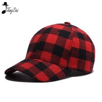 Trendy Winter Jacket Autumn Winter Plaid Fashion Brand Cotton Snapback Caps Red Plaid Strapback Baseball Cap Bboy Hip-hop Hat For Men Women Fitted AT_92_12