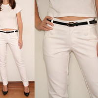 Skinny Pants High Waisted Pants Trousers in White Office Fashion